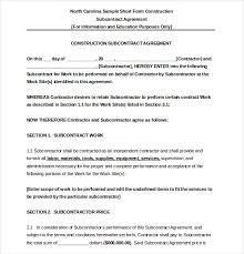 Subcontractor Agreement Format 17 Subcontractor Agreement Templates Word Pdf Pages Free