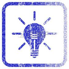 vector square blue icon lighting bulb. Light Bulb Textured Icon For Overlay Watermark Stamps. Blue Vectorized Texture. Flat Vector Symbol Square Lighting
