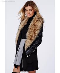 whole womens coats winter 2016 wool coat with leather sleeves women s winter long wool coat with fur collar