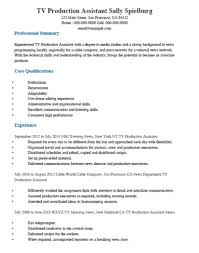 Film Student Production Assistant Resume Tv Production Assistant