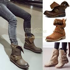 genuine leather plus size black brown punk women rivet combat boots vintage retro autumn motorcycle ankle