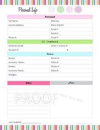 passwords template personal records organizer template information templates personal