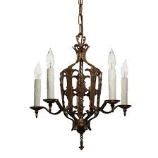 sold spanish revival brass chandelier with shields antique lighting