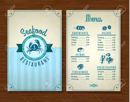 Resturant Menu Template Seafood Restaurant Menu Template With Ocean Design Symbols Vector