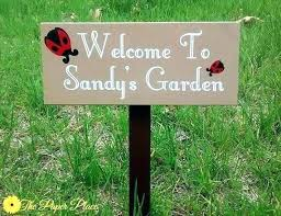garden sign. customized garden signs personalized wood outdoor custom sign weatherproof name