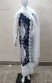 Cutwork Embroidery Designs Suits Unstitched Cutwork Lawn Shirt Cutwork Chikan Border Trousers