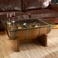 ... Coffee Table, Fascinating Brown And Clear Rectangle Minimalist Wood  Whiskey Barrel Coffee Table With Storage ...