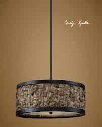 three light aged black drum shade pendant