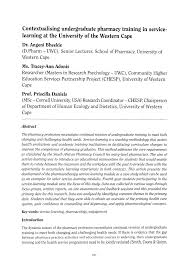 Contextualising undergraduate pharmacy training in service-learning at the  University of the Western Cape