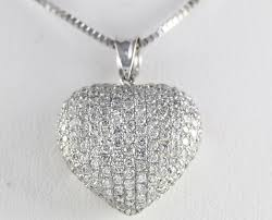 puffed diamond heart necklace 14k wg
