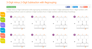 K8 School Lessons: 3-Digit minus 2-Digit Subtraction with Regrouping