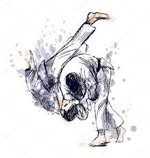 рисунок дзюдо цветные руки эскиз борьбы дзюдо векторное