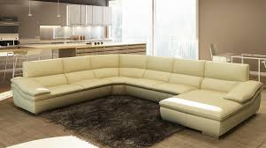 ... Italian Leather Sectional Sofas Upholstered In Beige Italian Leather  And Stainless Steel Feet This Spacious Sofa ...