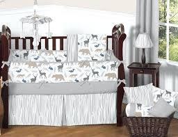 fox crib set gray white forest animal safari deer fox bear neutral baby boy bedding crib