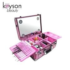 pink professional makeup case with lights train dividers cosmetic vanity cases nyx artist extra large mak