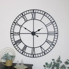 extra large black metal skeleton clock