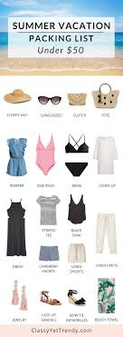 Packing List For Summer Vacation Summer Beach Vacation Packing List Under 50 Classy Yet Trendy