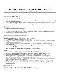 Retail Manager Sample Resume Sample Resume For Retail Manager Retail