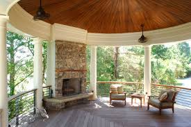 stacked stone outdoor fireplace centers circular porch tropical porch