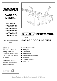Garage Door coleman garage door opener pics : Sears Garage Door Opener 139.53636SRT User Guide | ManualsOnline.com
