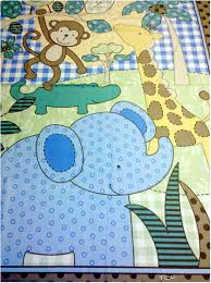 Baby Quilt Panel Kits | Safari Elephant Monkey Blue Quilt Panel+ ... & Baby Quilt Panel Kits | Safari Elephant Monkey Blue Quilt Panel+ Companion  Fabric KIT Adamdwight.com