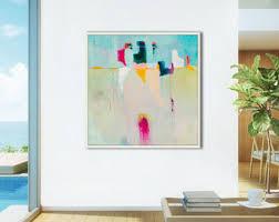 Abstract print, large coastal abstract painting print, large abstract art  print blue, yellow