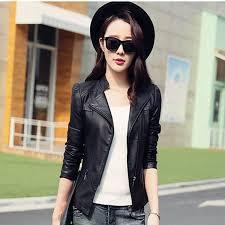 2017 spring autumn women wear short leather jacket black thin gothic pu coats female lady silm leather jacket hooded jackets jackets from cacy