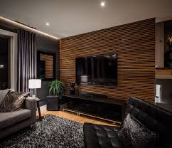 Living Room Wood Paneling Decorating Living Room Wall Wood Panels Design Black Modern Sofa Furniture