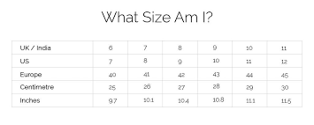 Footwear Size Chart India To Uk Size Chart Overdriveshoes