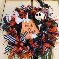 Light Up Trick Or Treat Jack Skelington Halloween Wreath