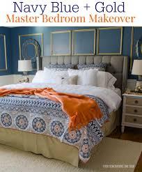 gorgeous navy blue gold master bedroom makeover