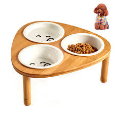 elevated cat bowls. Interesting Elevated Petacc 3 Set Elevated Pet Bowl Ceramic Cat Bowls Puppy Water With  Wooden Stand For E