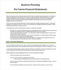 Pro Forma Forecast Template Income Statement Template Free