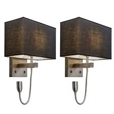 Set Of 2 Wall Lamp Bergamo Steel With Black Shade Lampandlight