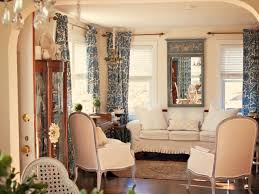 Patterned Curtains For Living Room French Living Room With Patterned Curtains And Wall Mirror