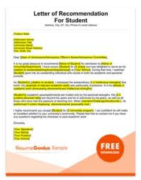 Letter Of Recommendation For A Student Applying For Graduate