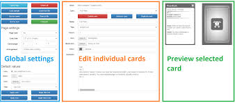 in the middle menu you can select and edit individual cards the right column contains a preview of the selected card