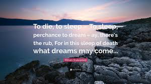 "What Dreams May Come Quotes Best of William Shakespeare Quote ""To Die To Sleep To Sleep Perchance"