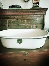 vintage porcelain enamel enamelware oval baby bath tub wash basin white black