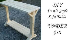 Diy sofa table Couch Diy Trestle Style Sofa Table Under 30 Youtube Diy Trestle Style Sofa Table Under 30 Youtube