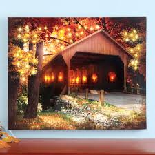 Fall Lighted Canvas Led Lighted Covered Bridge Fall Scene Canvas With Color Changing Fiber Optic Light