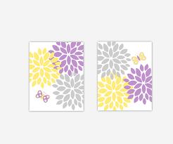 baby girls canvas nursery wall art purple lavender yellow gray grey erfly flower burst dahlia mums modern fl canvas prints baby nursery decor