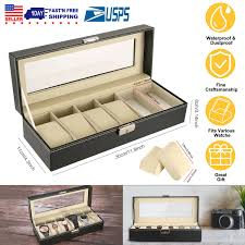 Ikee Design Watch Box Ikee Design Deluxe Watch Display Case Key Lock Clear Glass Top