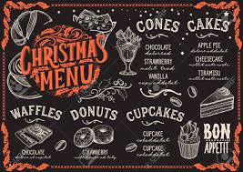 christmas dinner poster christmas menu template for dessert restaurant on a blackboard