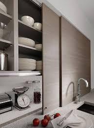 kitchen cabinets with sliding doors