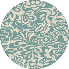 8 round fl aqua indoor outdoor rug garden city rc willey furniture