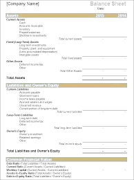 Example Classified Balance Sheet Detailed Balance Sheet Template
