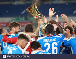 Stadio Olimpico, Rome, Italy. 17th June, 2020. Coppa Italia Final, Napoli  versus Juventus; Players of Napoli celebrate their win Credit: Action Plus  Sports/Alamy Live News Stock Photo - Alamy