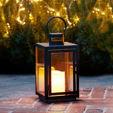 black metal battery operated outdoor led flameless candle lantern 0