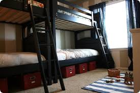 Two sets of bunkbeds {from costco} fit just perfectly end to end in the room.  If I had it my way the bed would not cut into the window, ...
